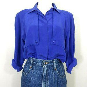 VTG 100% Silk Blouse Royal Blue Size Medium
